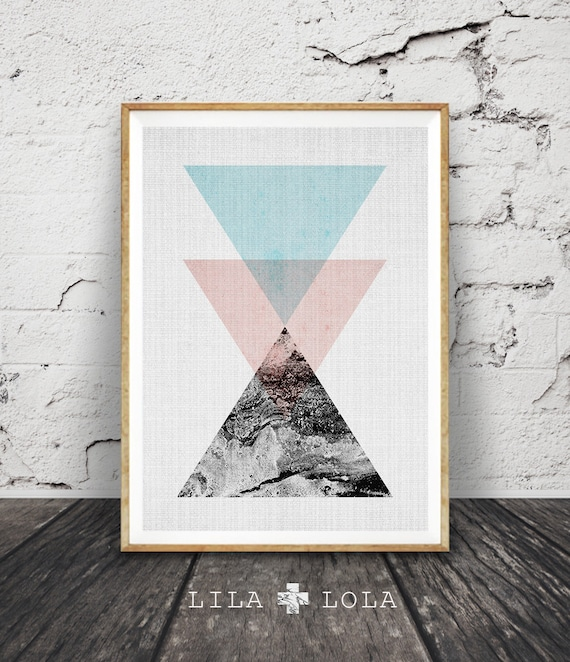 Geometric Wall Art, Triangle Print, Scandinavian, Minimalist Modern Design, Abstract Art, Nordic, Home Decor, Printable Instant Download