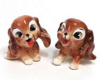 Kreiss Pottery Cocker Spaniel Puppy Figurines/ Set of 2 Cute Dogs/ MIJ Japan Kitsch