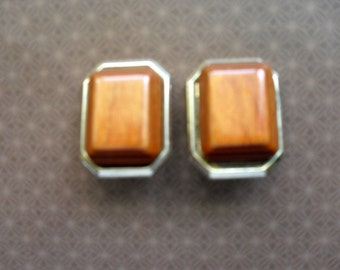 Casual Wooden Clip-On Earrings, Vintage