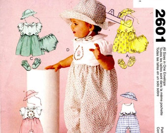 McCalls 2601 Sewing Pattern - Infants Dress Rompers Hat Shoes and Panties - Sizes S, M, L, XL