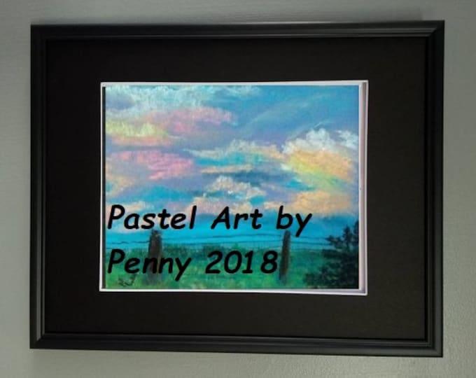 "8x10 Original Signed Soft Pastel Painting, Sky Artwork, ""Happy Clouds"""