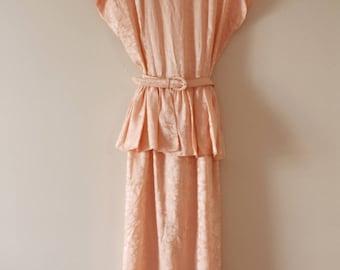 1980's Peach Damask Jacquard Floral Peplum Dress Small/Medium