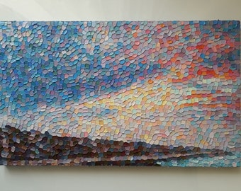 Sunset Painting Oil on Canvas Hand Painted Artwork Modern Picture Home Decor Seaside Landscape