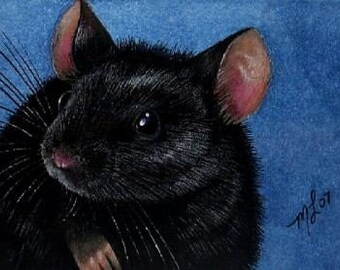 Black Mouse Art  Melody Lea Lamb ACEO Giclee Print