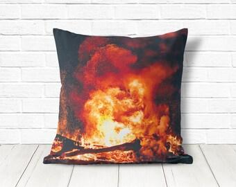 Camping decor, bonfire pillow cover, professionally printed fabric