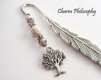 Tree Bookmark - Teacher Gifts - Unique Beaded Bookmark - Silver Tree Charm