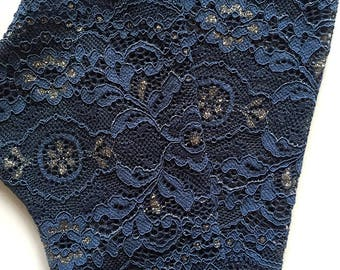 Lace Gloves in Navy Blue , Sea Blue. Stretch Lace, FingerlessLace Gloves, Bride, Bridesmaid, Gift. Ready to ship.