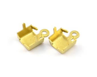 Rhinestone Chain Connector, 20 Raw Brass Rhinestone Chain Connectors Crimps Setting With Prongs For (5mm) Chain L016