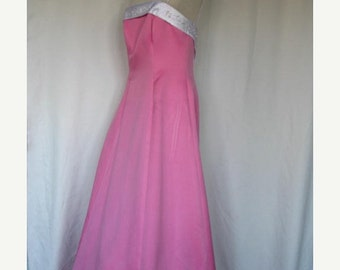 On Sale Vintage Prom Dress Formal Evening Gown Hot Pink with Tails  Size 12