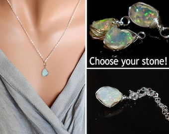 Raw Opal Necklace, Raw Stone Necklace, October Birthstone Jewelry, Wire Wrap Raw Crystal Necklace, Sterling Silver Fire Opal Pendant Choker