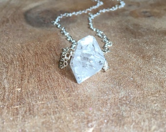 Raw Crystal Necklace - Raw Herkimer Diamond Necklace - Herkimer Dimaond - Gift For Her - 14k Gold Filled or Sterling Silver