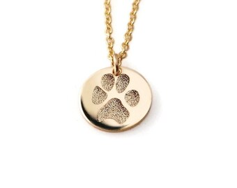 Your pet's actual paw or nose print custom personalized pendant necklace Sterling silver or 14k gold filled. Various diameters available
