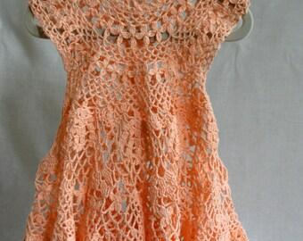 Crocheted Peach Dress with Matching Headband
