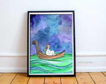 Dreams, Original handmade watercolor illustration by Namita Singh