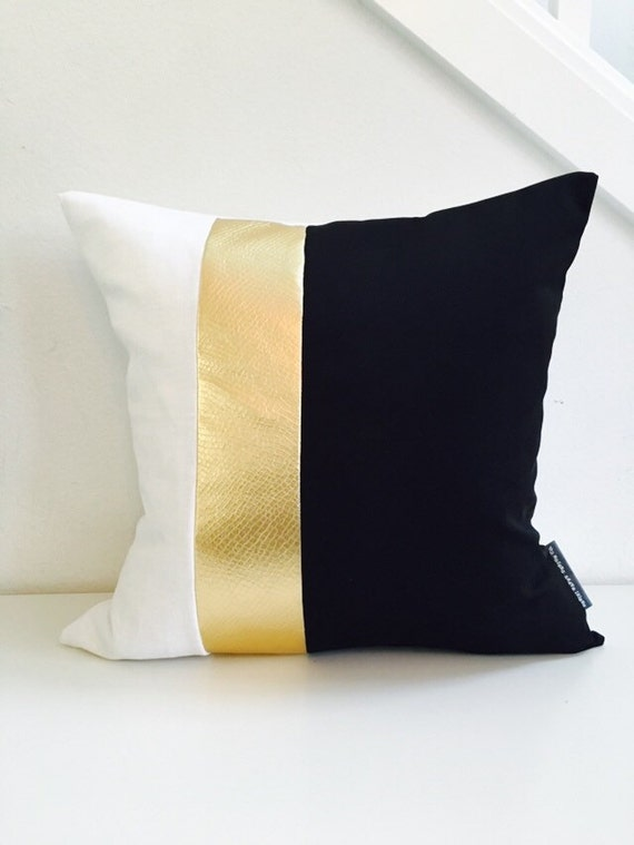 "Black and White Pillow Cover 18""x18"" Cushion Color Block Design Metallic Gold Stripes Wide Striped Modern Glam Mid Century Hollywood Regency"