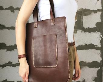 Leather shoulder bag tote Flat handbag Dark brown leather bag women Personalize leather tote bag with pocket Leather shopper bag rectangular