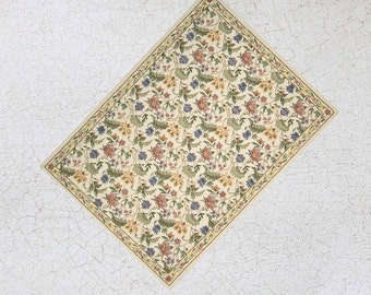 Miniature Floral Rug For Half Scale or Dollhouse or Playscale