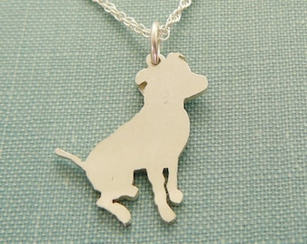 Pitbull Dog Necklace, Sterling Silver Sitting Pit Bull Personalize Pendant, Breed Silhouette Charm, Rescue Shelter, Memorial Gift