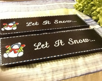 Wall Art Let it Snow Holiday Sign Christmas Decor Holiday Decor Country Decor Snowman Sign Wall Hanging Gift Cottage Chic