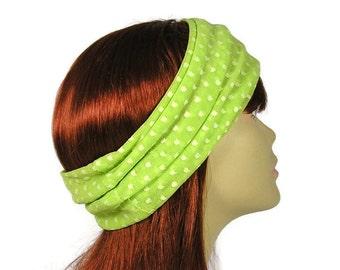 Lime Green Mesh Head Wrap Lightweight Airy Green Head Wrap Summer Polka Dot Head Wrap Beachwear Headband Headgear