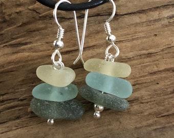 Sea glass jewelry- Yellow, Moss green and Aqua blue Sea glass earrings