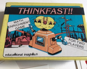 MATH GAME Thinkfast! Educational Insights 62 Cards Two Players Vintage Kid's Game