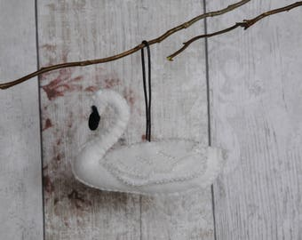 Beautiful decorative handmade hanging beaded felt swan for decoration ornamental