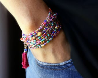 "Fiesta Beaded Wrap Bracelet - 87"" Long Seed Bead Stretch Bracelet"