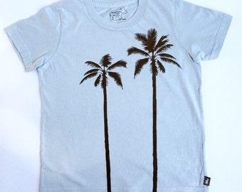 Organic S/S Light Blue Palm Tree Shirt - 6 months to 12 years