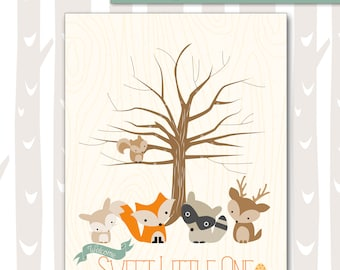 Sweet Woodland Baby Shower Thumbprint Tree | Forest Friends Baby Shower Guest Book Alternative | Woodland Baby Animals 8x10 and 11x14