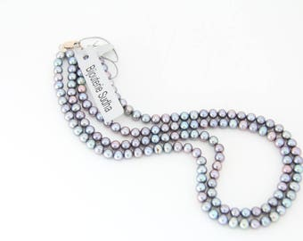 PL1004 - CULTURED  PEARL NECKLACE, Round Greyish Blue, Pearl Necklace, Wedding Jewelry, Double Strand.