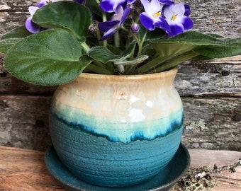 Planter - Turquoise - Wheel Thrown Pottery
