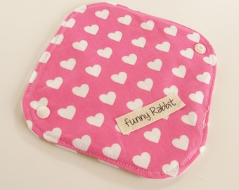 Cloth Pantyliner - Michael Miller Hearts Raspberry -