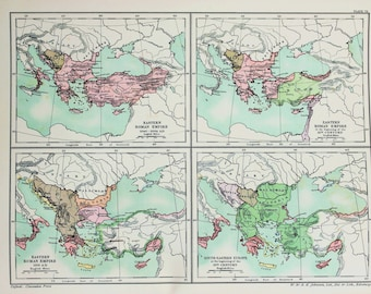 Antique Map : Eastern Roman Emprie, Byzantine, 11th to 15th Century. Published 1902, Lovely Pastel Colours