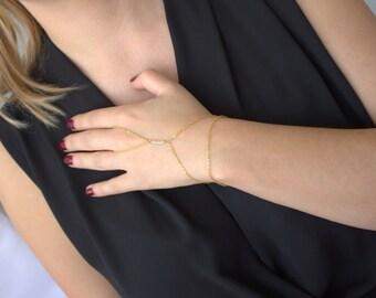 Crystal Hand Chain,Gold  Finger Bracelet, Gold Slave Bracelet,Chain Ring,bright crystal