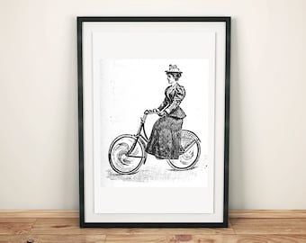 Victorian lady riding bicycle clip art illustration graphic design printable transfer image scrapbook digital stamp instant download JPG
