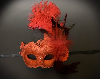 Masquerade Mask, Feather Masquerade Mask, Feather Masks, Mardi Gras Mask, Mardi Gras Masks, Masquerade Ball, Feather Mask [Venetian Red]