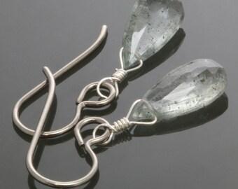 CLEARANCE. Moss Aquamarine Earrings. Titanium Ear Wires. Genuine Gemstone. March Birthstone. Lightweight Earrings. f13e035