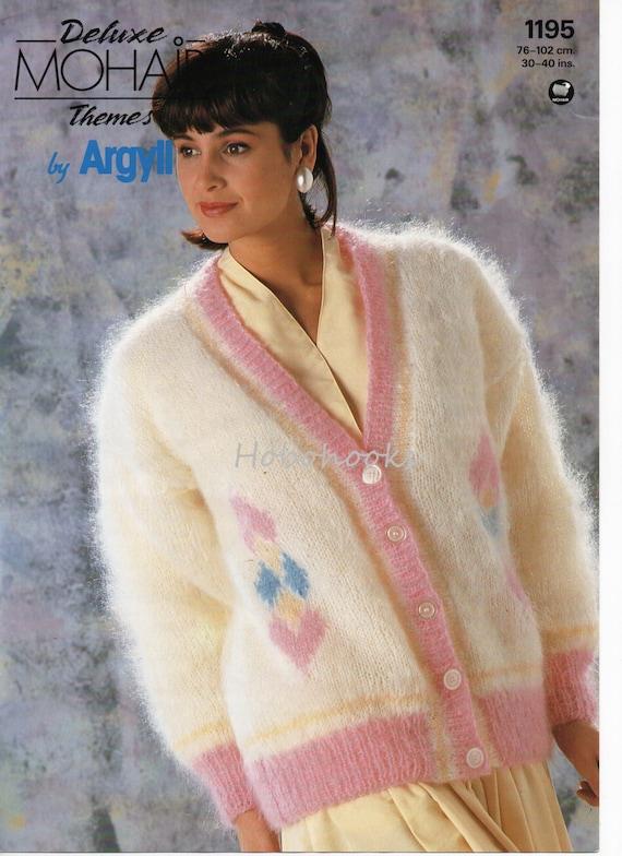 Womens Mohair Cardigan Knitting Pattern Pdf Ladies Diamond