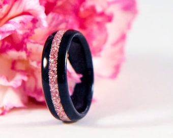 Wood Ring - Ebony Ring - Pink Ring - Pink Jewelry - Wood Rings For Women - Wooden Rings For Women - Wood Wedding Band - Wood Engagement Ring