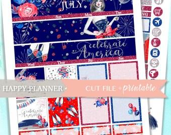 Juli MONATSANSICHT, Happy Planner, 4. Juli Aufkleber, Happy Planner monatlichen Kit, Juli monatlichen Bausatz, bedruckbare Aufkleber, Tag der Unabhängigkeit