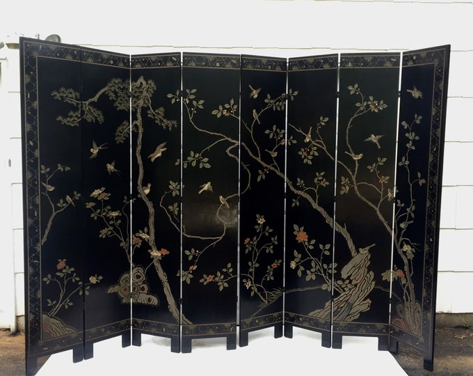 Handpainted Vintage Japanese Screen - 8 Panel Room Divider