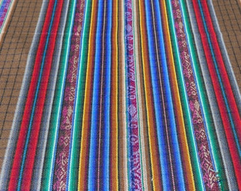 """Ecuador fabric 54"""" wide acrylic suiting weight striped plaid brown ethnic southwestern Andean Mexican tablecloth home decor + 2 yard cut"""