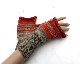fingerless gloves, knit gray red fingerless mittens, knitting wool arm warmers, colorful hand warmers, spring gloves, knitted gauntlets