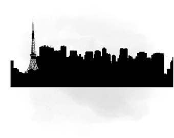 City Skyline Tokyo SVG Clipart International Digital Cutting File In