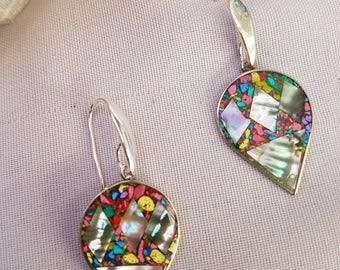 Silver and abalone earrings handmade