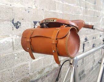 Leather Bicycle Bag, Leather Bike Bag, Bike bag, Cycling, Bike Accessory, Honey