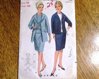 """MOD 1960s Skirt Suit - Cardigan Jacket, Pencil Skirt & Fitted Blouse / Shell - Size 12 (Bust 32"""") - VINTAGE Sewing Pattern Butterick 3443"""