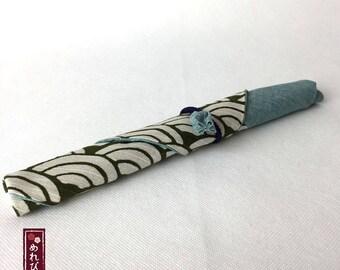 Chopstick Case Japanese style fabrics Olive Blue Traditional Japanese patterns Chopstick Sleeve - Free Shipping!!