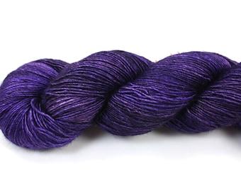 Purple Velvet--hand dyed sock weight yarn, merino and silk single ply, (438yds/100gm)